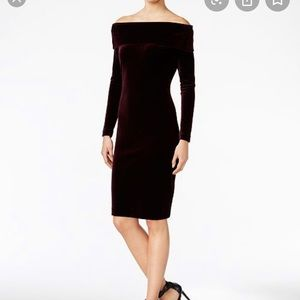 Calvin Klein Off the Shoulder Velvet Dress